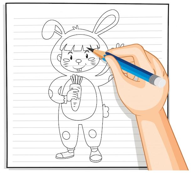 Disegno della mano del bambino nel contorno del costume di coniglio