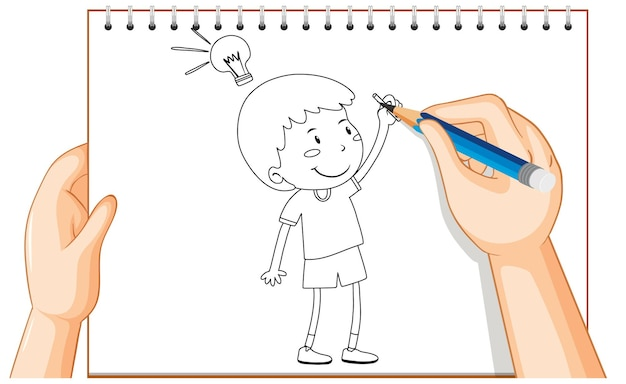 Hand drawing of kid with idea lamp outline