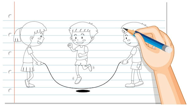 Hand drawing of kids jumping rope outline