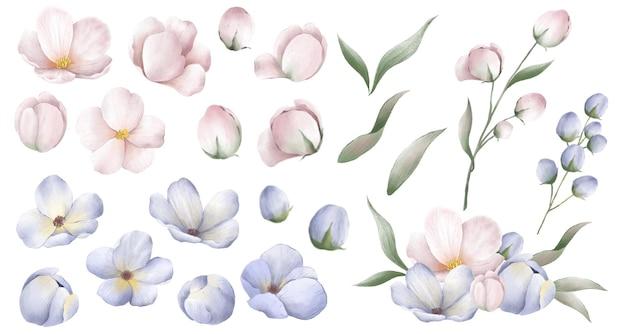 Рука рисунок цветы в корейском стиле Premium векторы
