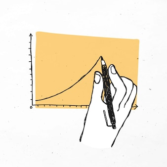Hand drawing line graph  business doodle clipart