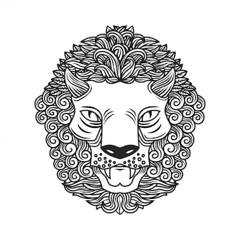 Hand drawing lion head