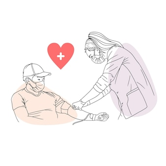 Hand drawing of a man donating blood for world humanity day in line art style 1