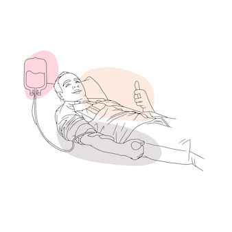 Hand drawing of a man donating blood for world humanity day in line art style 2