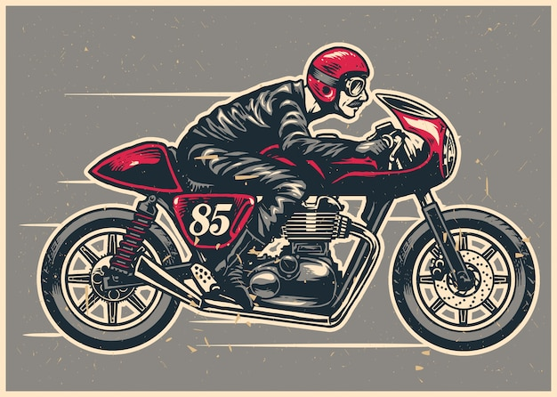 Hand drawing man riding a cafe racer