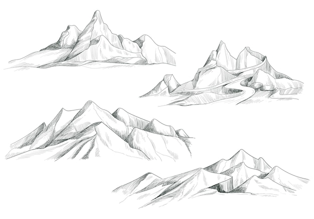 Hand drawing mountain landscape set sketch design