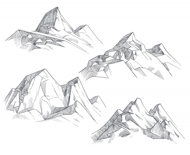 Hand drawing mountain peaks isolated retro etching sketch