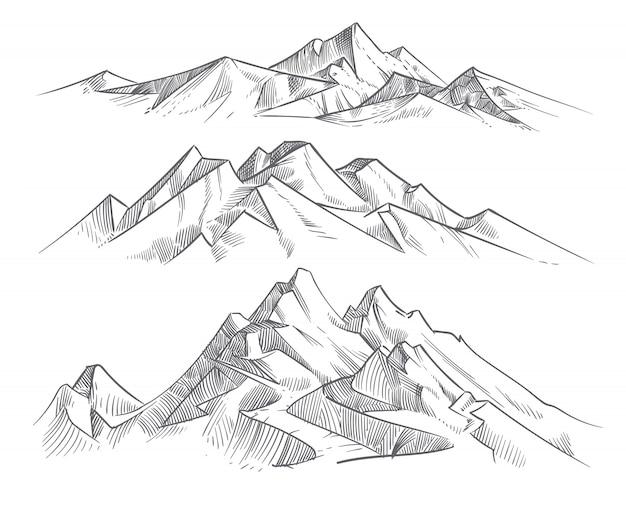 Рука рисунок горных хребтов в стиле гравировки. винтажные горы панорама вектор природа пейзаж. пик открытый эскиз, иллюстрация горного хребта пейзаж