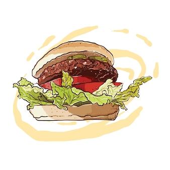 肉と野菜を詰めたハンバーガーの手描き