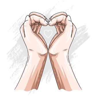 어머니의 날 심장 모양의 손 그리기 손