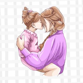 Рука рисунок матери и ребенка на день матери