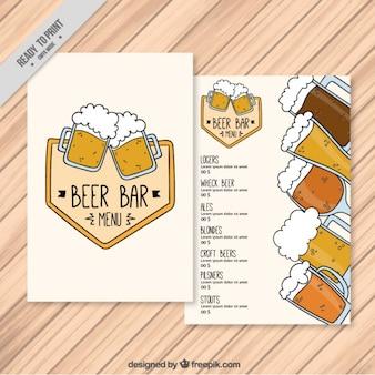 Ручной рисунок меню пива