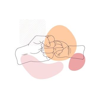 Ручной рисунок отца, держащего за руку сына на день отца в стиле арт-линии 1