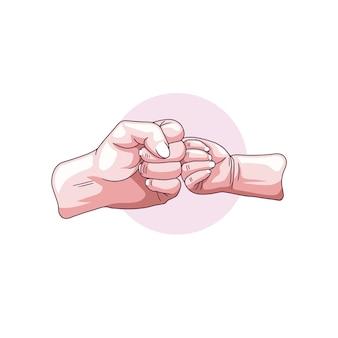 아버지의 날 1을 위해 아들의 손을 잡고 있는 아버지의 손 그리기