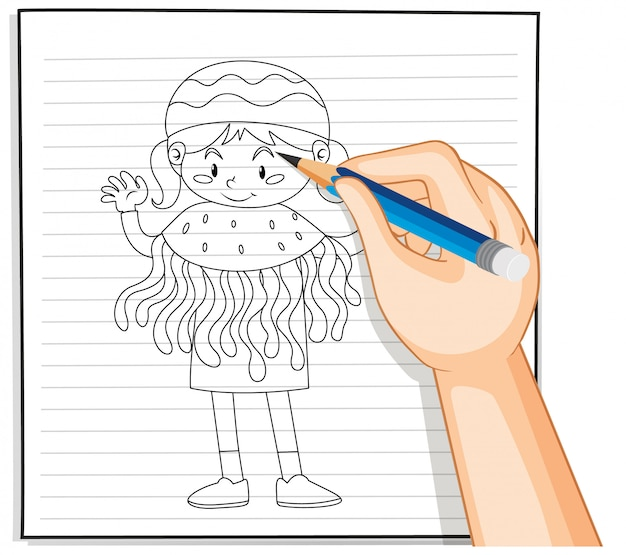 해파리 의상 개요에서 여자의 손 그리기