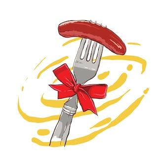フォークで焼いたソーセージの手描き