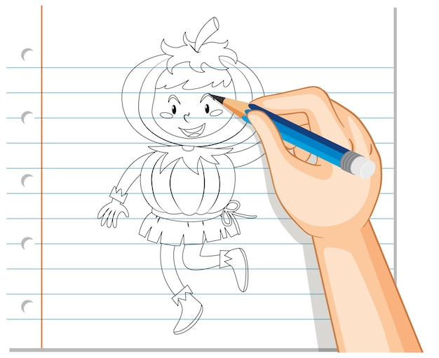 手描きのカボチャの衣装の概要を身に着けている子供の