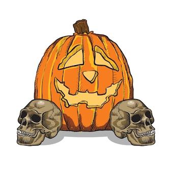 カボチャと頭蓋骨の手描き