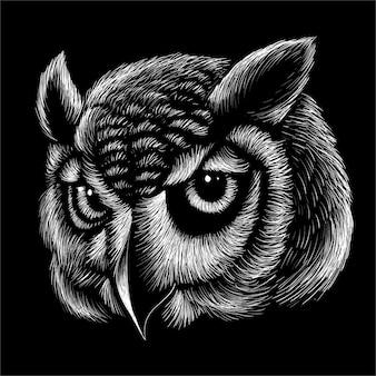 手描きのフクロウの頭