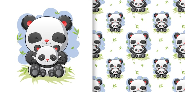 Hand drawing of pandas sitting together in bamboo forest illustration