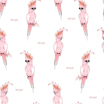 Ручной рисунок розового попугая