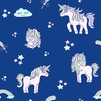 ネイビーブルーの背景のシームレスなパターンにピンクのユニコーンを手描き