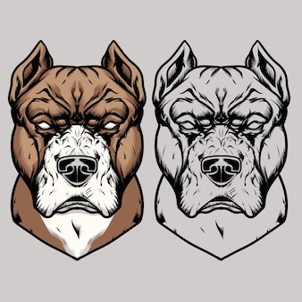 Hand drawing pitbull head vector illustration