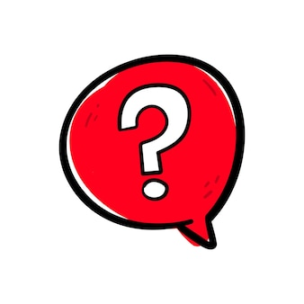 Hand drawing question mark sign symbol in a red speech bubble icon vector.