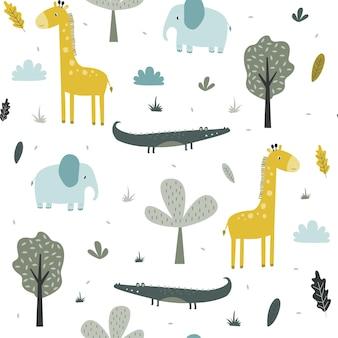 手描きのサファリ動物のシームレスなプリントデザインファッション生地のベクトルイラストデザインt