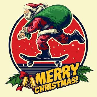 Hand drawing of santa claus riding skateboard