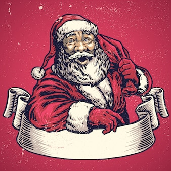 Hand drawing of santa claus with text space on banner