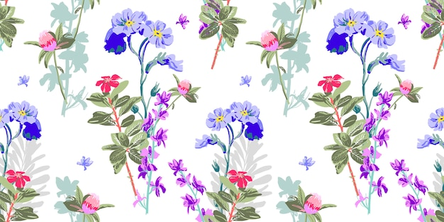 Hand drawing seamless floral pattern