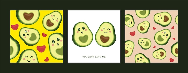 Hand drawing seamless pattern set with cute cartoon smiling avocado.
