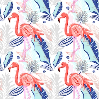 핑크 플라밍고와 열 대 르와 원활한 패턴 그리기 손