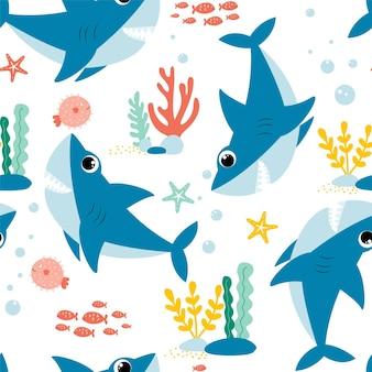 Hand drawing shark print design vector illustration design for fashion fabrics textile graphics p