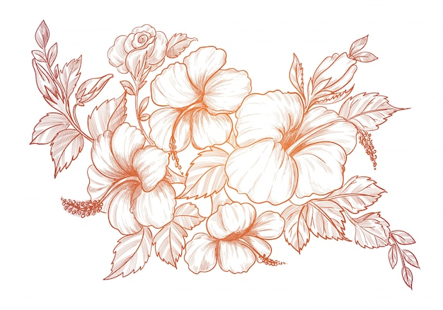 Hand drawing and sketch decorative floral background