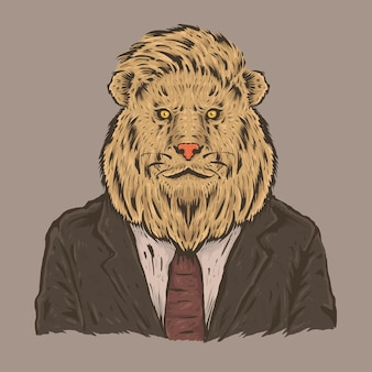 Hand drawing sketch of lion wears a black suit