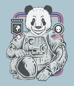 Hand drawing sketch of panda astronaut