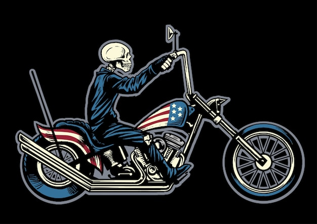 Hand drawing skull riding a chopper motorcycle
