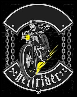 Hand drawing of skull riding vintage motorcycle - vector
