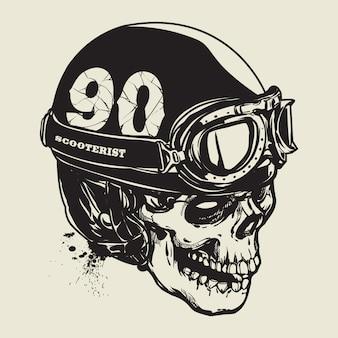 Hand drawing of skull wearing vintage motorcycle helmet