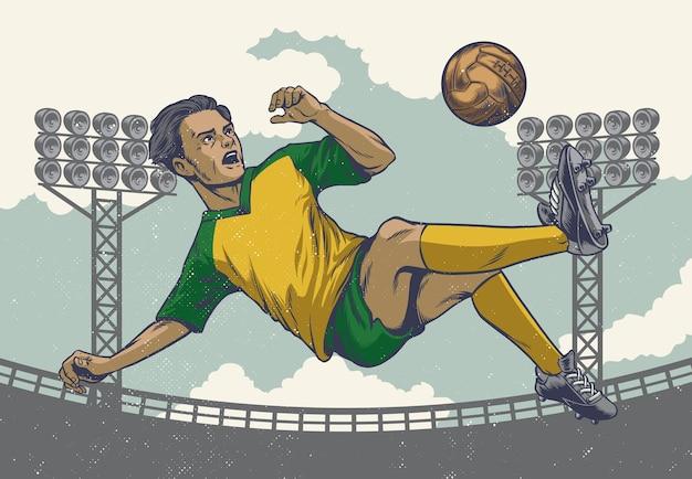 レトロスタイルでジャンプするサッカー選手を描く手描きの手