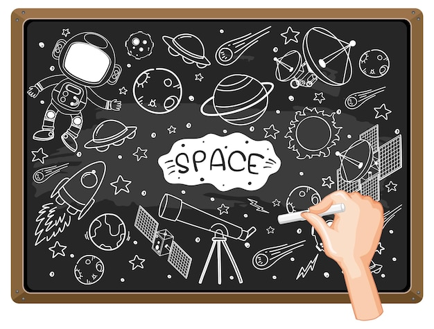 Hand drawing space element on chalkboard