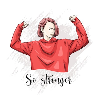 Hand drawing of strong woman