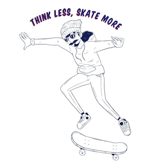 Hand drawing style of cool hipster riding skateboard