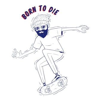 Hand drawing style of cool hipster skater with jumping on skateboard