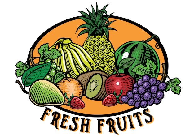 Hand drawing style of fruits