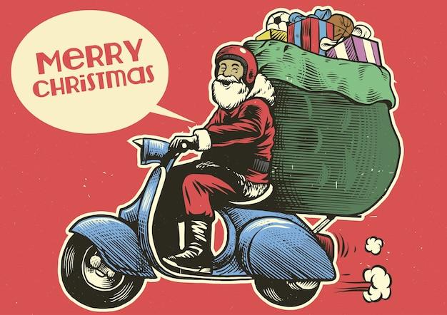 サンタクロースの手描きのスタイルは、スクーターのオートバイに乗る