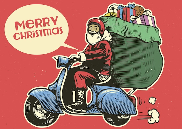 Hand drawing style of santa claus ride a scooter motorcycle
