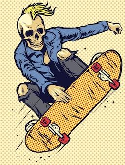 Hand drawing style skull play skateboarding